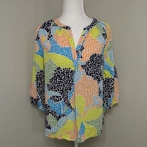 Crown & Ivy Yellow Peach Multi Color Top Shirt M